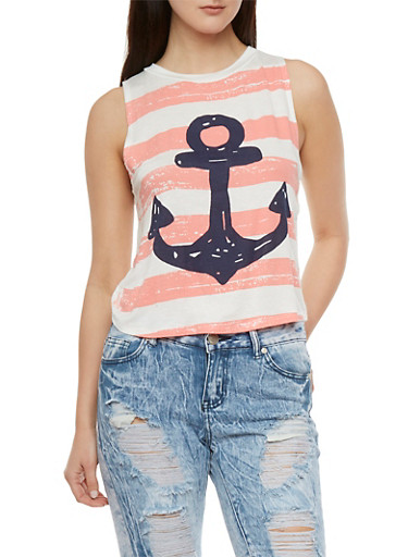 Boxy Muscle Tank Top with Striped Anchor Print,WHITE,large
