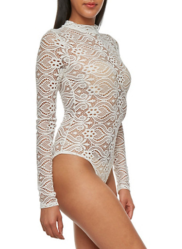 Lace Bodysuit with Long Sleeves,WHITE,large