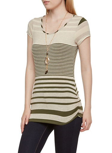 Ruched Mixed Stripe Top with Beaded Necklace,OLIVE,large