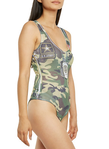 Sleeveless Bodysuit with Camouflage and US Army Print,CAMOUFLAGE,large