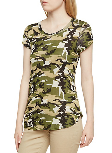 Camo Print Top with Round Hem,OLIVE,large