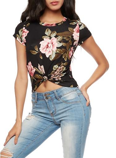 Floral Tie Front Crop Top,BLACK,large