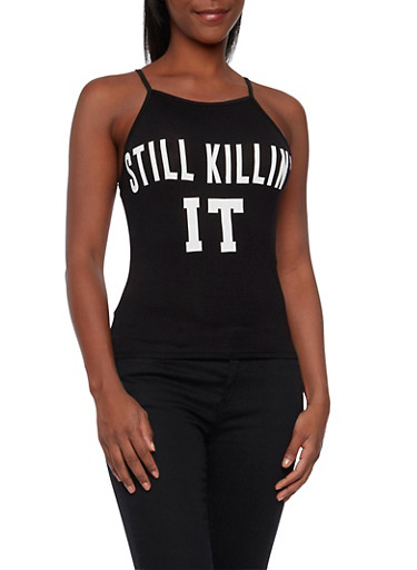 Tank Top with Still Killin It Graphic,BLACK/WHITE,large
