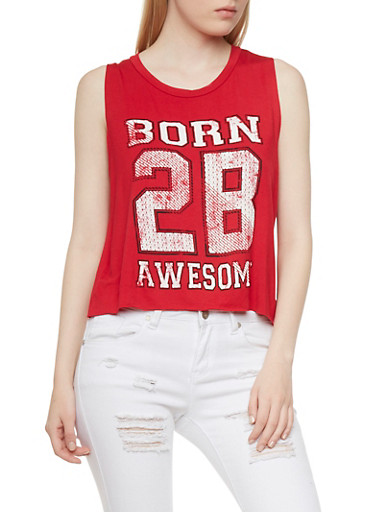 Muscle Tank Top with Born 2B Awesome Graphic,RED,large