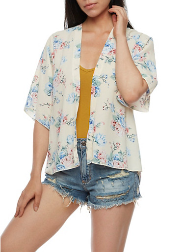 Short Sleeve Kimono Floral Top,IVORY,large
