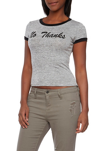 Ringer Tee with No Thanks Graphic,HEATHER,large