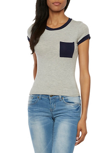 Ringer T-Shirt with Bust Pocket,HEATHER/NAVY,large