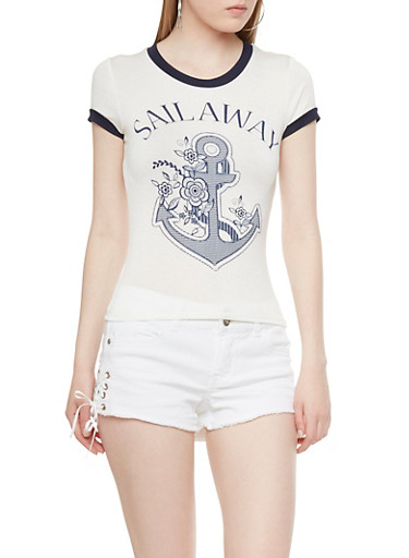 Ringer Tee with Anchor Graphic and Sail Away Print,WHITE/NAVY,large