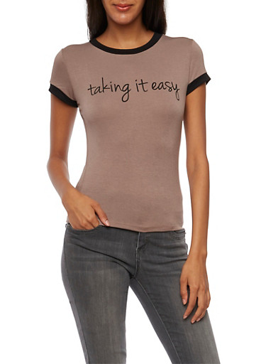 Ringer Tee with Taking It Easy Graphic,BLACK TGOFEE,large