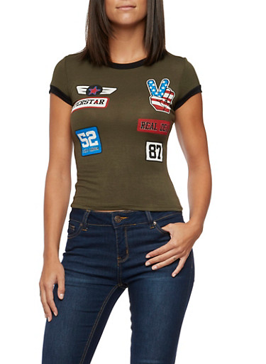 Ringer Tee with Patch Graphics,OLIVE BLK,large