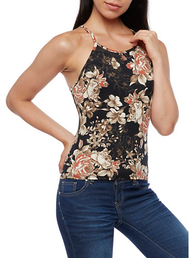 Floral Print Tank Top,BLACK,large