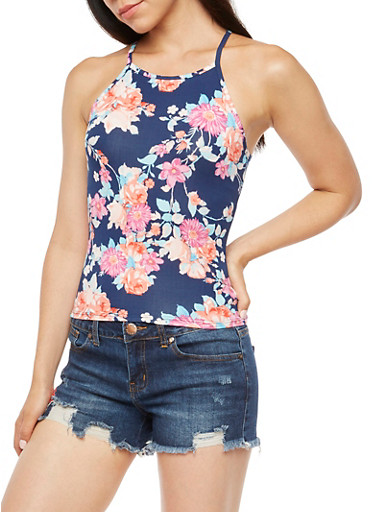 Floral Print Tank Top,NAVY,large