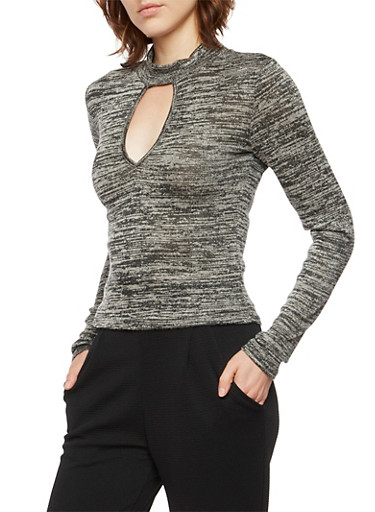Mock Neck Top with Keyhole Cutout,BLACK,large