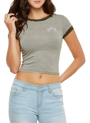 Striped Ringer Crop Top with Army Patch,OLIVE,large