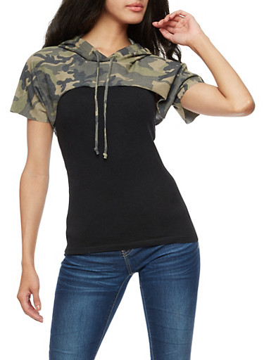 Short Sleeve Hooded Camo Crop Top,CAMOUFLAGE,large