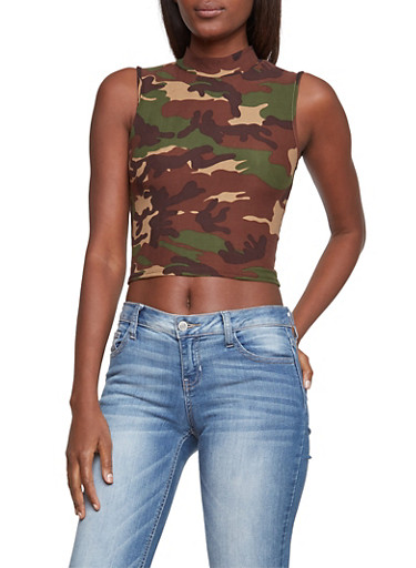 Camo Crop Top with Mock Neck,OLIVE,large