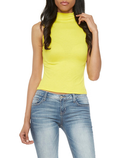 Solid Rib-Knit Top with Mock Neck,YELLOW,large