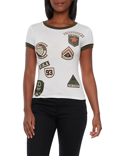 Ringer T-Shirt with Military Patch Graphics,IVORY OLIVE,large
