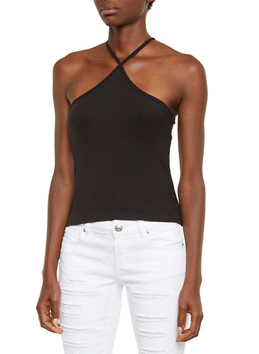Ribbed Tank Top with Crossed Straps,BLACK,large