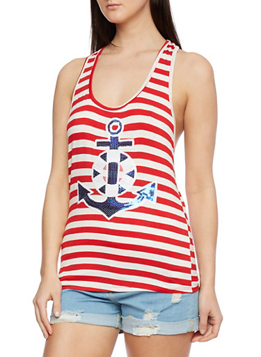 Striped Tank Top with Sequin Anchor at Front,RED/WHITE,large