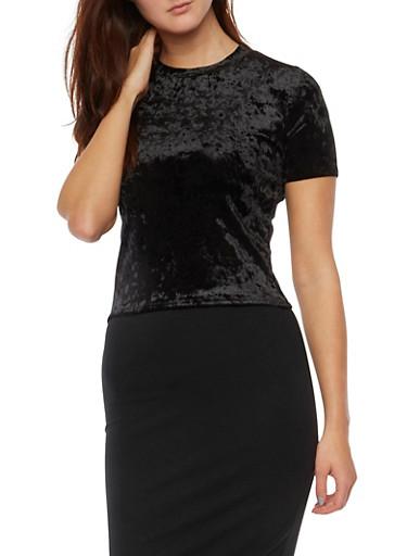 Crushed Velvet Crop Top with Short Sleeves,BLACK,large