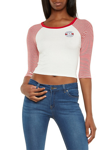 Jersey Top with Striped Raglan Sleeves and Nautical Patch,RED,large
