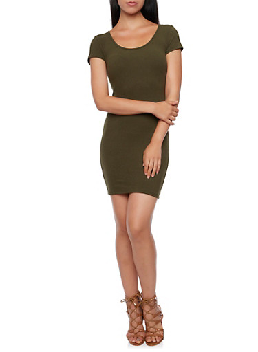 Bodycon Dress with Short Sleeves,OLIVE,large