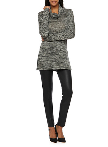 Knit Tunic Top with Cowl Neck,BLACK,large