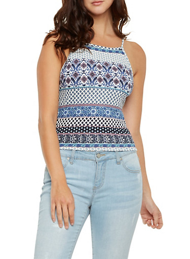 Textured Knit Crop Tank Top in Ornate Print,BLUE,large