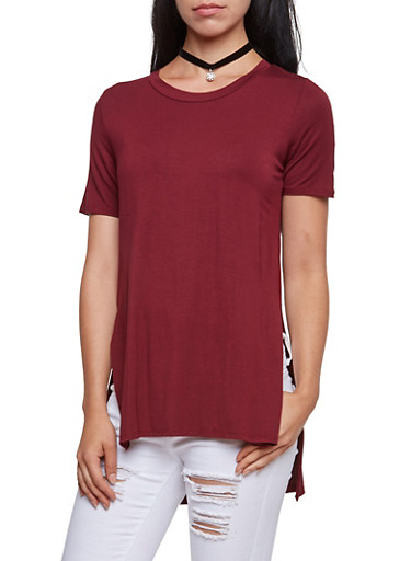 Short Sleeve Top with High Low Hem,WINE,large