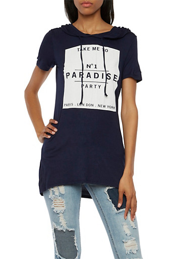 Hooded Tunic Top with Paradise Graphic,NAVY,large