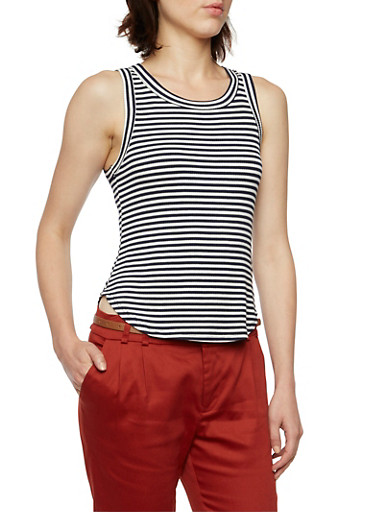 Striped Ribbed Tank Top,NAVY,large