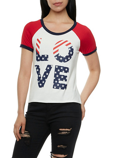 Americana Baseball Tee with Love Graphic,WHITE,large