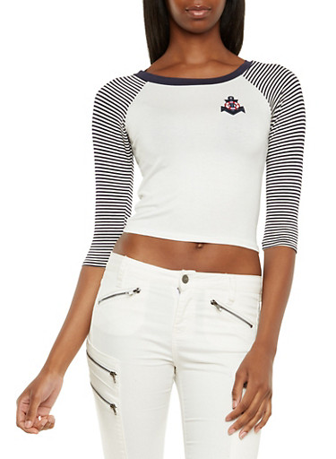Crop Top with Striped Raglan Sleeves and Nautical Patch,NAVY,large