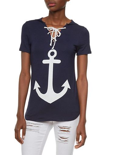 Hooded Lace-Up Top with Anchor Graphic,NAVY/WHITE,large