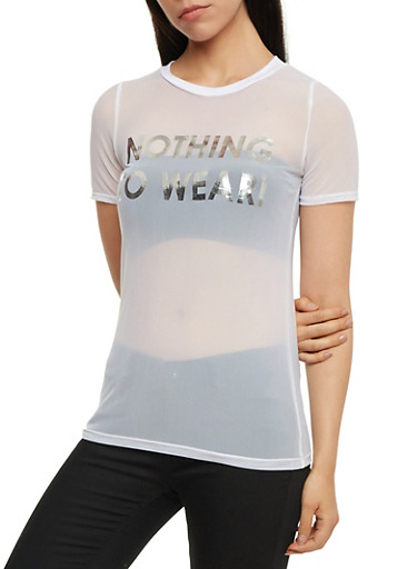 Nothing to Wear Graphic Mesh T Shirt,WHITE/SILVER,large