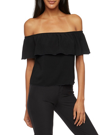 Ruffled Off the Shoulder Top,BLACK,large