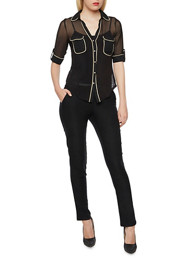 Sheer Button Up Shirt with Contrast Trim,BLACK,large