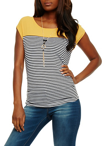 Striped Crepe Knit Top with Necklace,MUSTARD,large