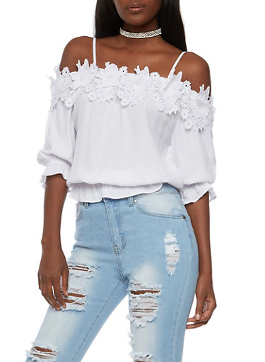 Off the Shoulder Flower Crochet Trim Top,WHITE,large