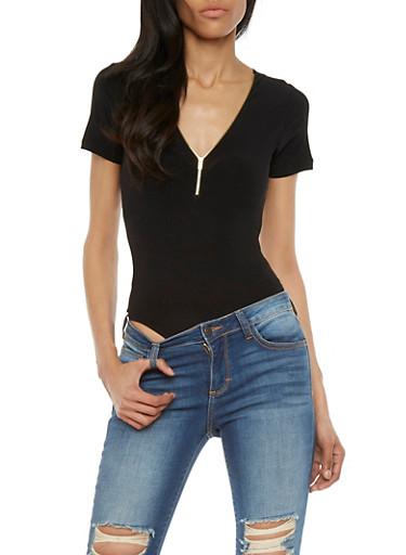 Zip Up Bodysuit with Short Sleeves,BLACK,large