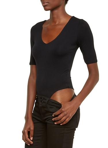 Solid Bodysuit with V-Neck,BLACK,large