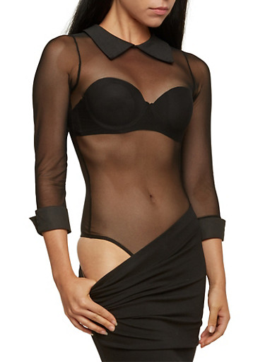 Sheer Bodysuit with Collar,BLACK,large