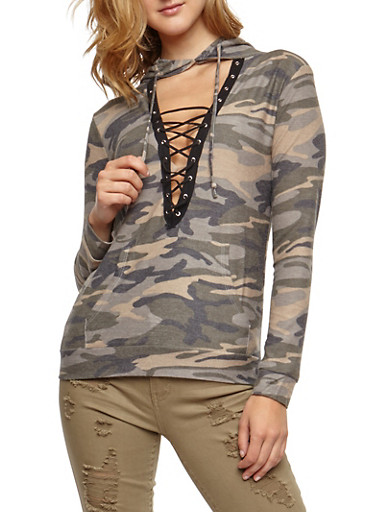 Long Sleeve Lace Up Hooded Camo Print Top,OLIVE,large