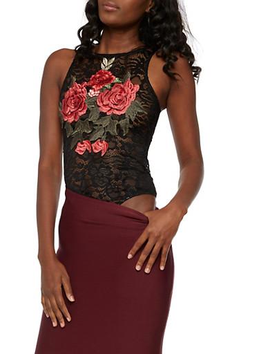 Rose Applique Lace Bodysuit,BLACK,large