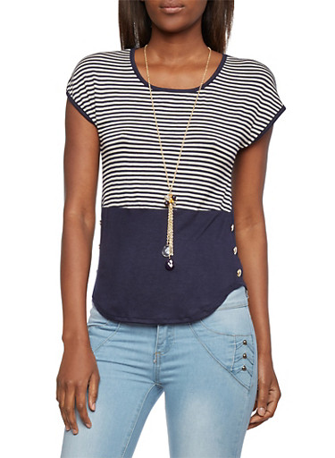 Striped Top with Necklace,NAVY,large