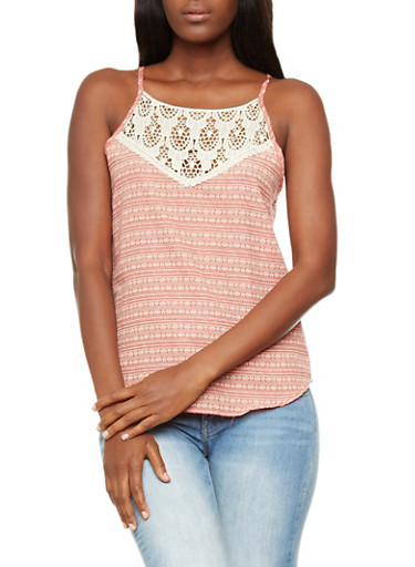 Aztec Print Spaghetti Strap Top With Crochet Panel,RUST,large