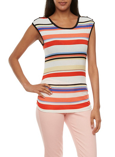 Striped Sleeveless Top with Shirred Hem,CORAL,large