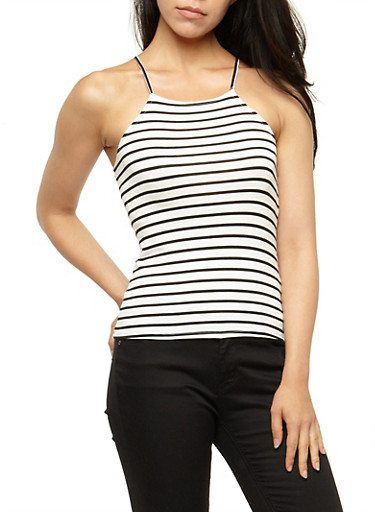 Striped Tank Top,WHITE BLACK,large