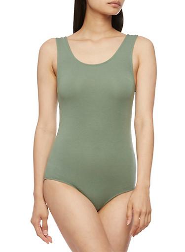 Sleeveless Bodysuit with Caged Back,SAGE,large